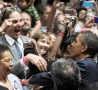 Funny Pictures - Super Excited Man Meets Obama